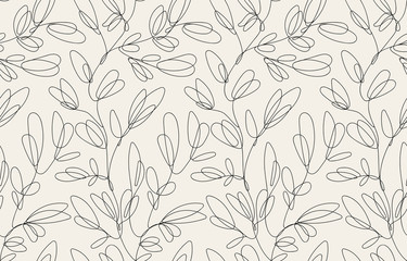 Seamless floral pattern with one line flowers. Vector hand drawn illustration.