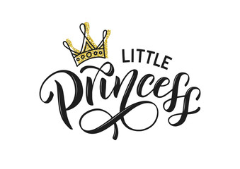 Estores personalizados com sua foto Little princess vector isolated on white with golden crown. Little princess lettering design as logo, t-shirt design and print for girls clothes and apparel. Princess emlem, label, tag