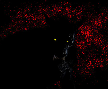 Silohuete of a Werewolf/Dogman against blood spattered background