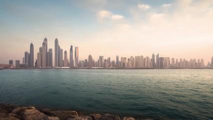Foto En Lienzo - timelapse of skyscrapers in Dubai Marina, sunset time, UAE