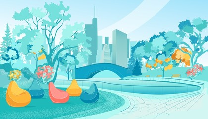 Printed kitchen splashbacks Light blue City Park with Frameless Chairs and Benches, Slide