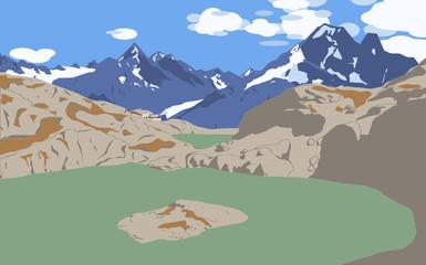 Photo sur Toile Olive Lac Blanc, Alpes françaises