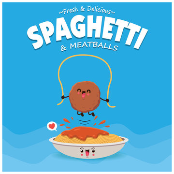 Vintage poster design with vector spaghetti & meatballs character.