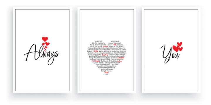 Always love you, vector. Wording design, lettering. Scandinavian minimalist poster design, three pieces art design, wall artwork decor, wall decals. Romantic love quotes