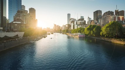 Fotomurales - timelapse of sunset, Yarra River, Melbourne, Victoria, Australia