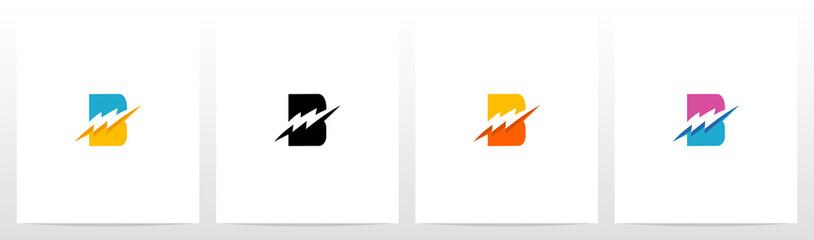 Thunder Electric On Letter Logo Design B
