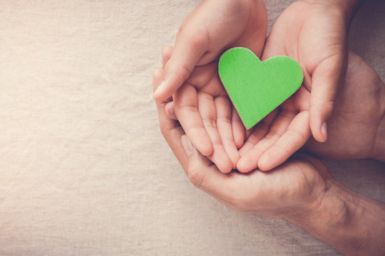 Adult and child hands holding green heart, Vegan vegetarian, eco sustainable living, healthy wellness, CSR social responsibility concept, world environment day, world health day
