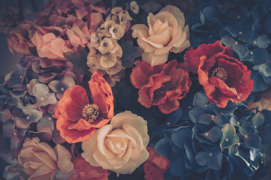 Beautiful Artificial Rose Flowers Background, Vintage style;