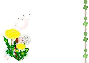 春の花タンポポと綿毛とつくしとクローバのイラスト横スタイル背景素材