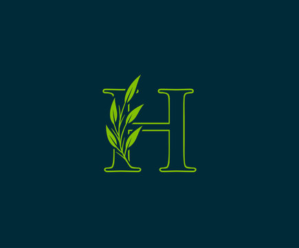 Initial H letter with green leaves logo Icon.