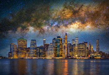 Acrylic Prints New York Panorama scene of New York Cityscape beside the east river at the night time over the milky way on the dark sky background, USA downtown skyline, Architecture and building, Surreal picture concept
