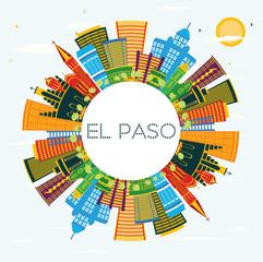 El Paso Texas City Skyline with Color Buildings, Blue Sky and Copy Space.