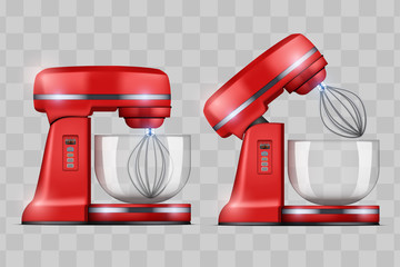 Set of Stand Mixer. Food blender for Electronic Kitchen appliance. Concept of Health food and drink. Vector Illustration isolated on transparent background.