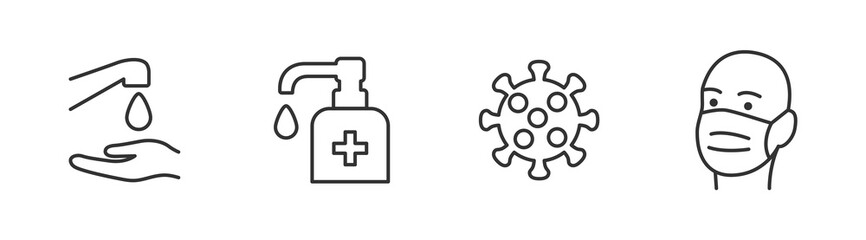 Hygiene vector icon set. Virus care black line outline icons collection. Washing hands, anti bacterial soap