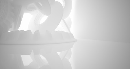 Abstract architectural background. White interior with smooth discs. 3D illustration and rendering.
