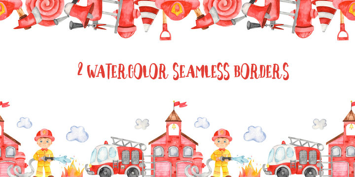Watercolor seamless borders. Fire Department, fire truck, firefighter and fire equipment