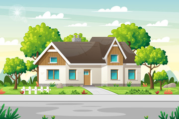 Country house with large garden on a street in summer. Concept for real estate, architecture, advertising, web backgrounds. Vector Illustrations with separate layers.