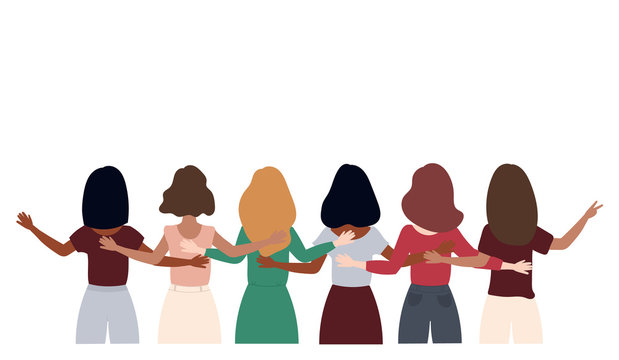 8 March Women's day. A group of women standing together and holding hands. Vector illustration.