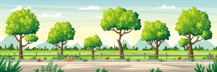 Wall Mural - Summer landscape panorama. Vector illustration with separate layers.