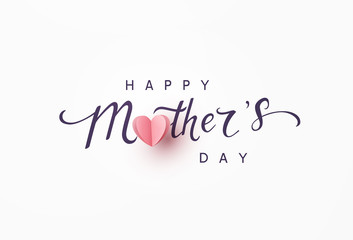 Mother's day greeting card. Vector banner with pink paper heart. Symbol of love and calligraphy text on gray background. .