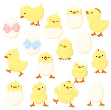 Set of cute cartoon chicken in various poses