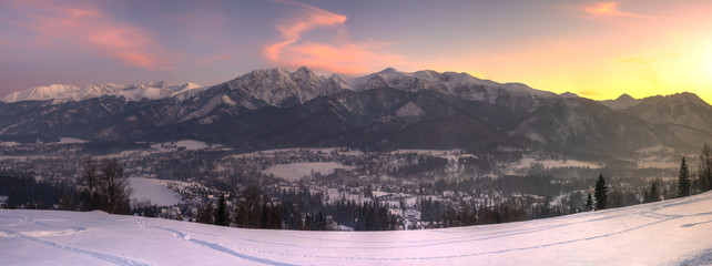 Fotomurales - Winter panorama of the High Tatras and the Zakopane Resort in Poland