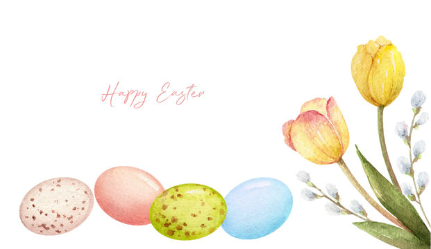 Happy Easter vector watercolor hand painted greeting card.