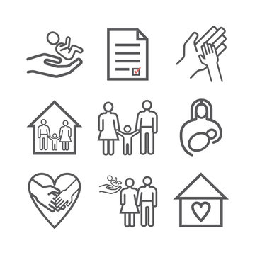 Adoption line icons set. Vector signs for web graphics
