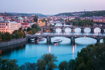 Foto op Aluminium Praag View from Letna to Prague city and Charles Bridge that crosses Vltava river, Prague.