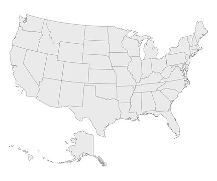 Political map of United States od America, USA