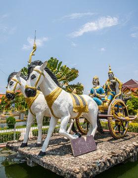 horse statue inside Wat Kamphaeng, a buddhist temple of Battambang, Cambodia