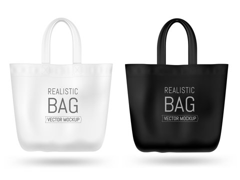 Realistic textile tote bag vector mock up. Black and white.