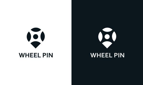 Minimal modern Abstract wheel pin logo.