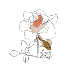 Trendy one line rose flower with pastel shapes and lettering. Fashion typography slogan design