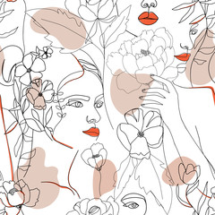 Contemporary fashion seamless pattern. One line continuous woman face, flowers, leaves and abstract shapes. Texture for textile, packaging, wrapping paper etc. Vector illustration.
