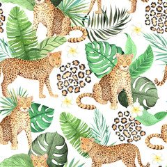 Watercolor seamless pattern with jungle leopard animals
