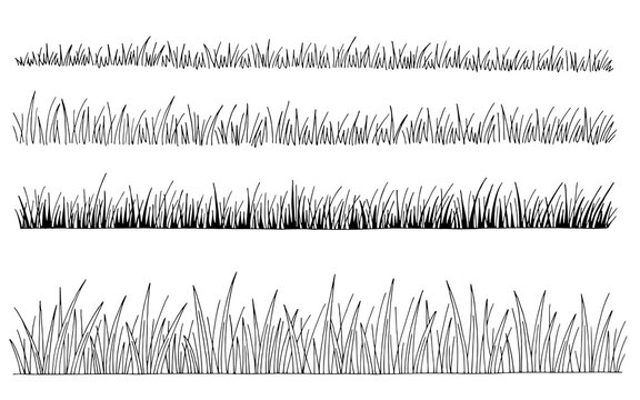 Grass set graphic black white isolated sketch illustration vector