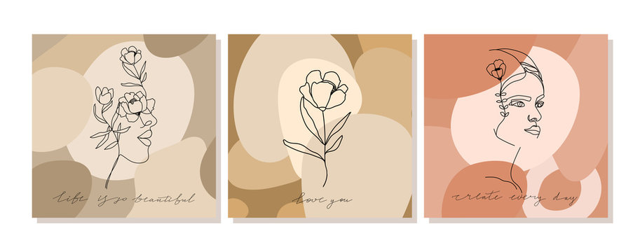 Set of illustrations with one line continuous woman face, flowers composition and calligraphy phrase. Abstract collage with geometric shapes. Design templates for covers, t-Shirt print etc. Vector.