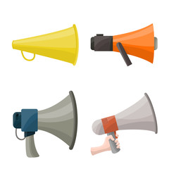 Isolated object of bullhorn and voice sign. Set of bullhorn and loud stock symbol for web.