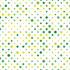 Seamless polka dot pattern. Green dots in random sizes on white background. Vector illustration