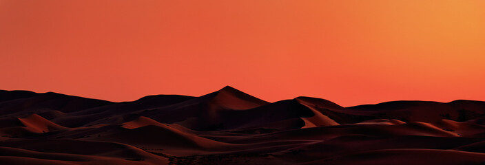 Foto auf Leinwand Rot Beautiful Sand dunes in the Gobi desert, Mongolia. View of the beautiful sand dunes. Fire dunes at dawn