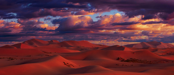 Printed roller blinds Magenta Beautiful Sand dunes in the Gobi desert, Mongolia. View of the beautiful sand dunes.