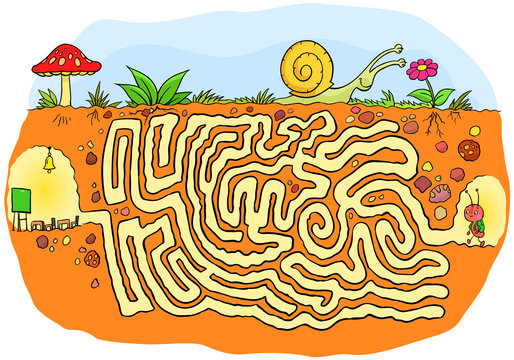 Maze game of an ant is going to school. Easy and simple maze game and puzzle for kids and children in kindergarten.