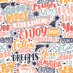Fototapeten Positive Typography Lettering seamless pattern positive words. Sweet cute inspiration typography. For textile, wrapping paper, hand drawn style backgrounds