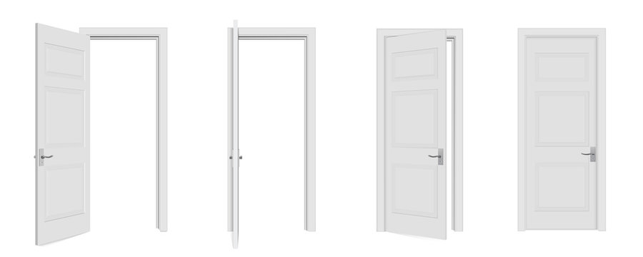 Creative vector illustration of open, closed door, entrance realistic doorway isolated on white background. Art design white doors template. Abstract concept graphic open, close house element