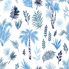 Fotorollo Weiß Tropical seamless pattern with exotic palms and leaves. Vector forest landscape