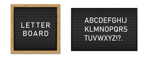 Creative vector illustration of letter board, letterboard for message, police mugshot banner, menu, sign, poster background. Design letter note board template. Changeable alphabet plate concept