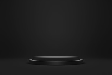 Black podium or pedestal display on dark background with cylinder stand concept. Blank product shelf standing backdrop. 3D rendering.