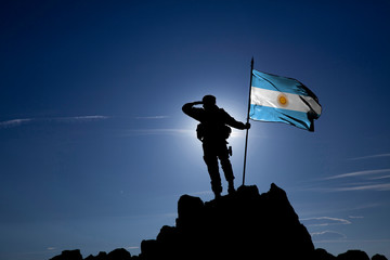 Soldier with the Argentine flag Fotomurales