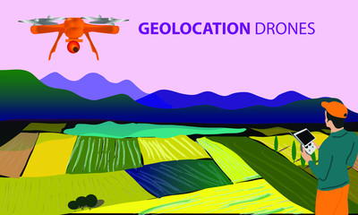 Wall Murals Purple Drone or quadrocopter for geolocation. A drone flies over the landscape and searches for and surveys the earth. The operator controls the drone through a laptop.
